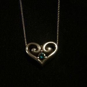 Brighton heart necklace with blue green stone